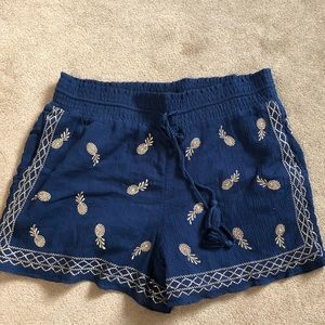 JCREW Navy Shorts with Embroidered Pineapples